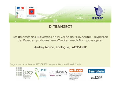 Seminaire 2015 ppt D TRANSECT