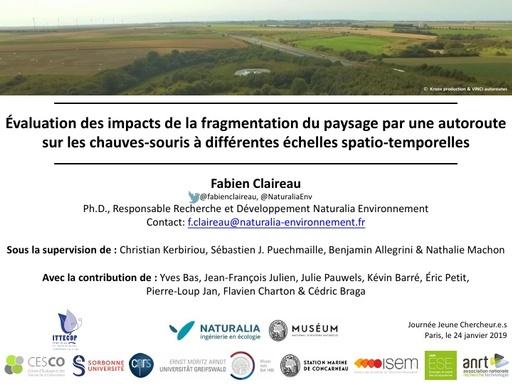 A2 CLAIREAU Fabien (absent), Effets des autoroutes sur l'activité chiroptérologique et la génétique des populations et évaluation des mesures de réduction visant à améliorer la connectivité des habitats