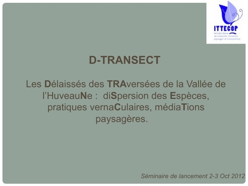 Seminaire 2012 ppt D transect