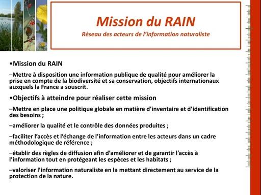 34 Mission du RAIN Réseau des acteurs de l'information naturaliste   Jean Marc VALET   Cerema
