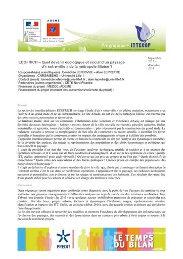 Seminaire 2013 Fiche ECOFRICH